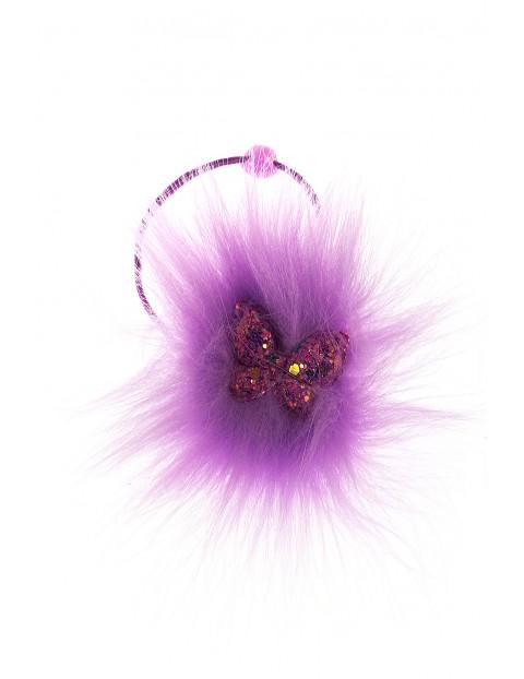 Ozdobna gumka do włosów- fioletowa z cekinowym motylem