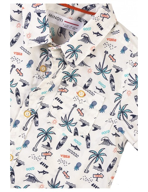 Bawełniana koszula chłopięca z krótkim rękawem
