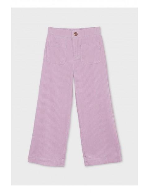 Bawełniane spodnie dziewczęce w prążki - fioletowe