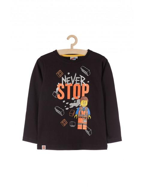 Bluzka chłopięca Lego- czarna z napisem Never Stop
