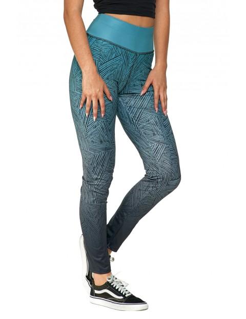 Legginsy damskie z wzorem - niebieskie