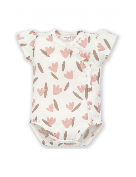 Body niemowlęce kopertowe, ecru z nadrukiem-100% bawełna