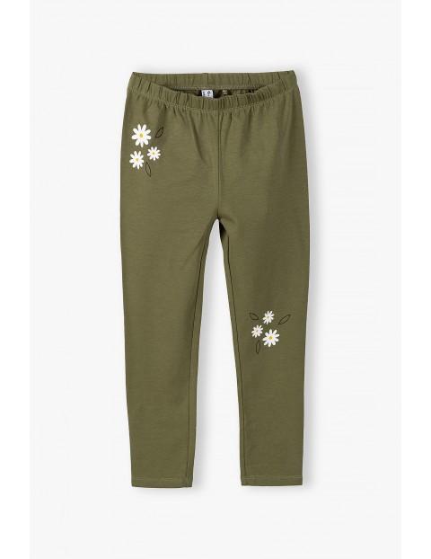 Leginsy dziewczęce z kwiatkami - zielone khaki