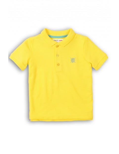 Żółty t-shirt z kołnierzykiem