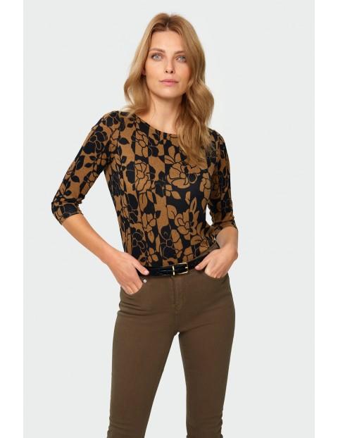 Sweter damski czarno-brązowy w kwiatki