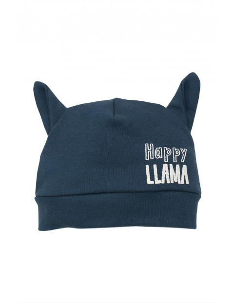Czapka bawełniana dla niemowlaka granatowa-Lama