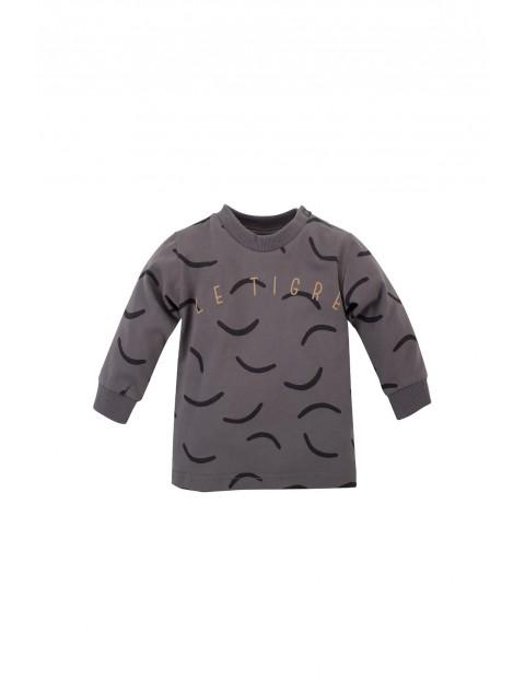 Bawełniana bluzka chłopięca we wzorki - szara