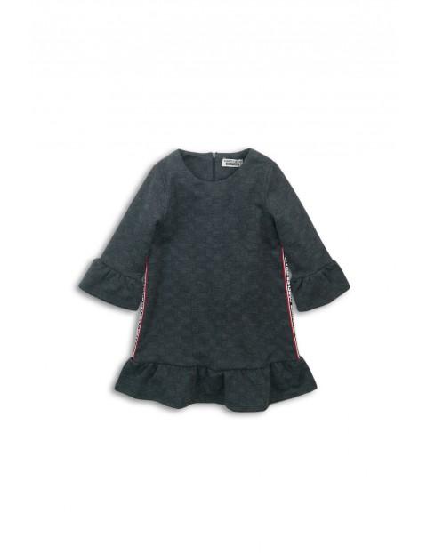 Sukienka dziecięca szara z falbanką i lampasami