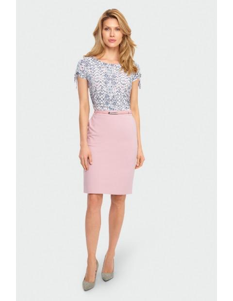 Wiskozowa bluzka damska z ozdobnym wiązaniem na rękawie- pastelowe kolory