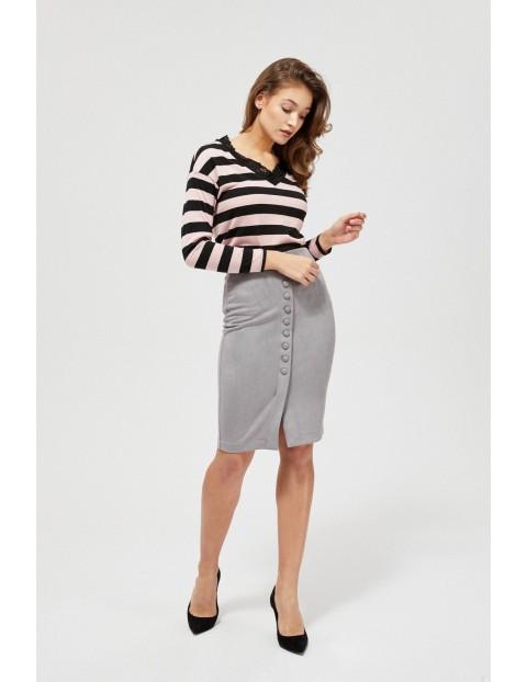 Spódnica ołówkowa damska z ozdobnymi guzikami szara