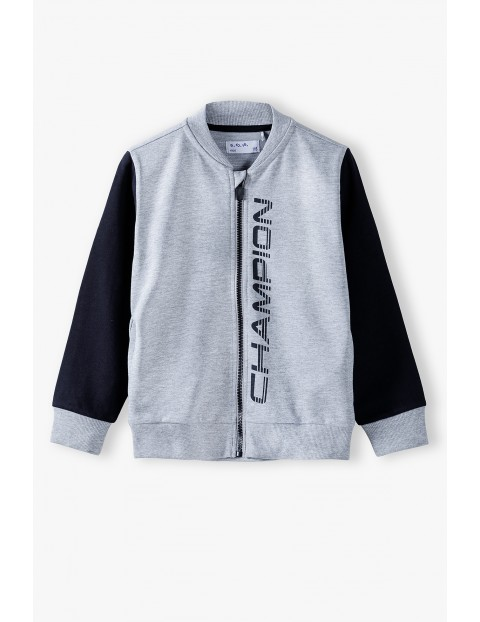 Bluza dresowa chłopięca rozpinana szara- Champion