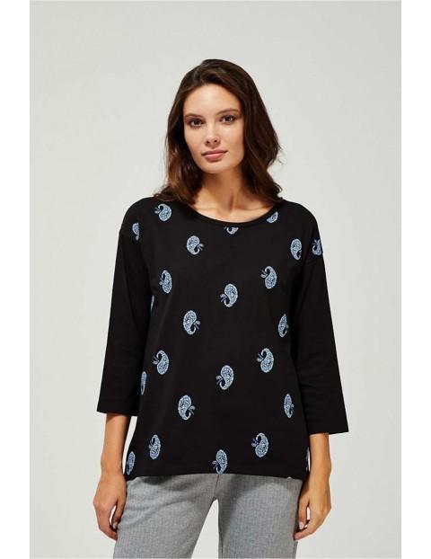 Bawełniana bluzka z długim rękawem w oryginalny wzór z rękawami 3/4 - czarny