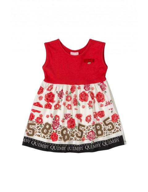 Sukienka dziecięca  w kwiatki - czerwona