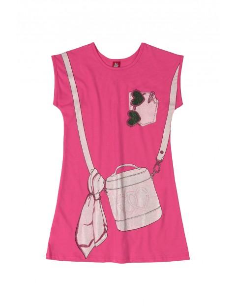 Sukienka dziecięca we wzorki - różowa
