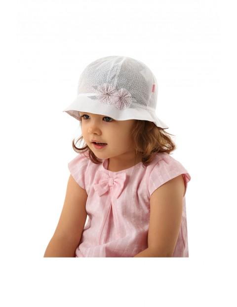 Bawełniany kapelusz na lato dla dziewczynki- biały w kwiatki rozm 50