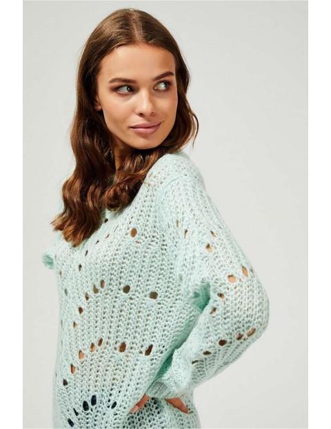 Ażurowy sweter damski - zielony