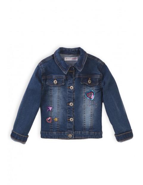 Granatowa kurtka jeansowa z naszywkami z cekinów