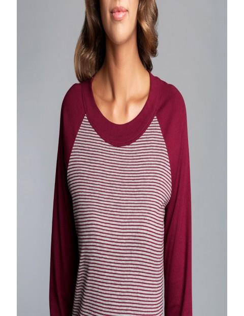 Piżama dla kobiet-  długi rękaw i długie spodnie -  bordowa