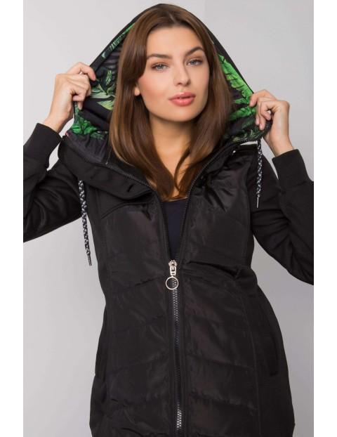 Czarna rozpinana bluza damska z kapturem