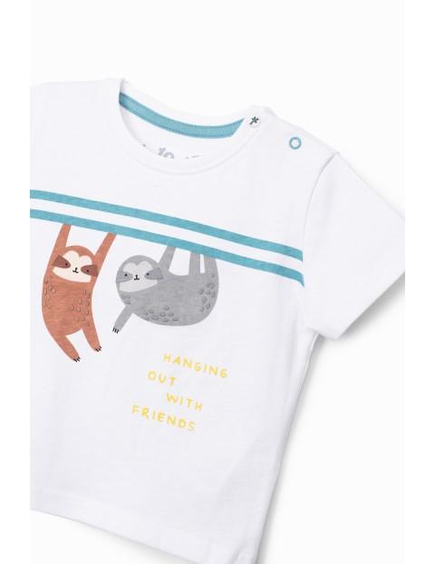 T-shirt niemowlęcy biały z leniwcami
