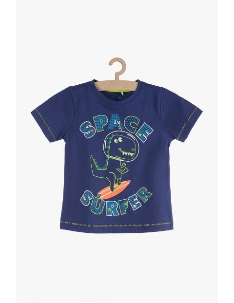 T-shirt chłopięcy granatowy z dinozaurem
