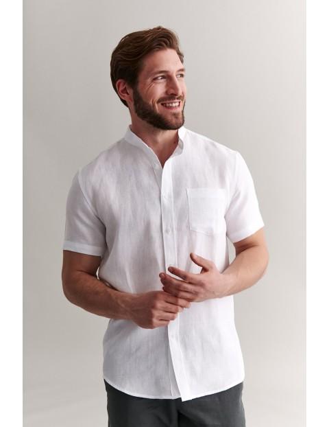 Lniana koszula męska z krótkim rękawem - biała