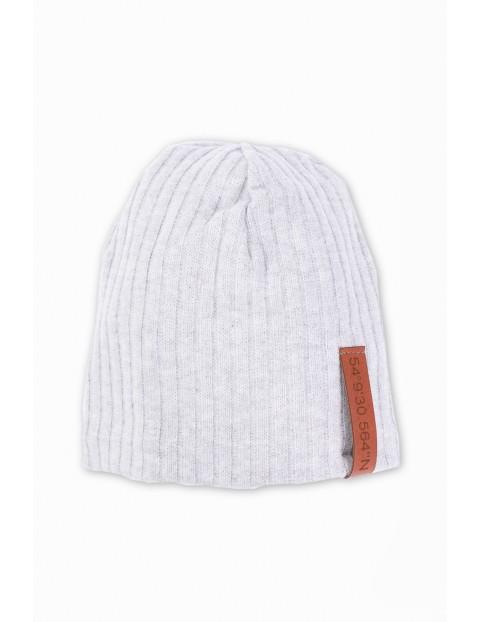 Dzianinowa czapka dla chłopca- szara