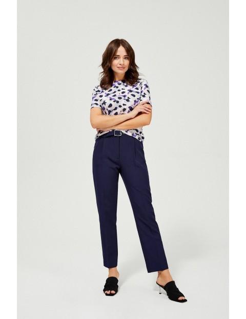 Spodnie damskie z paskiem - granatowe
