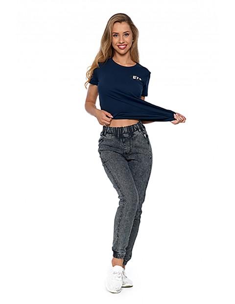 Spodnie damskie jeansowe  jogger- szare