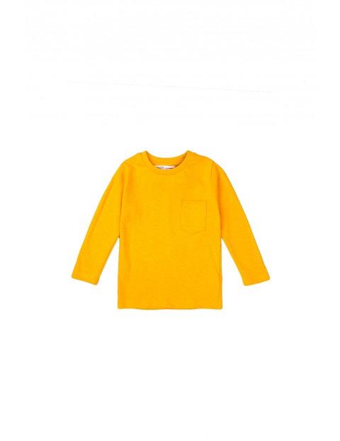 Bluzka niemowlęca bawełniana z kieszonką-żółta
