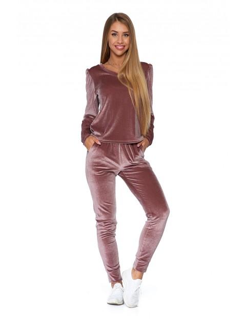 Spodnie damskie welurowe - różowe