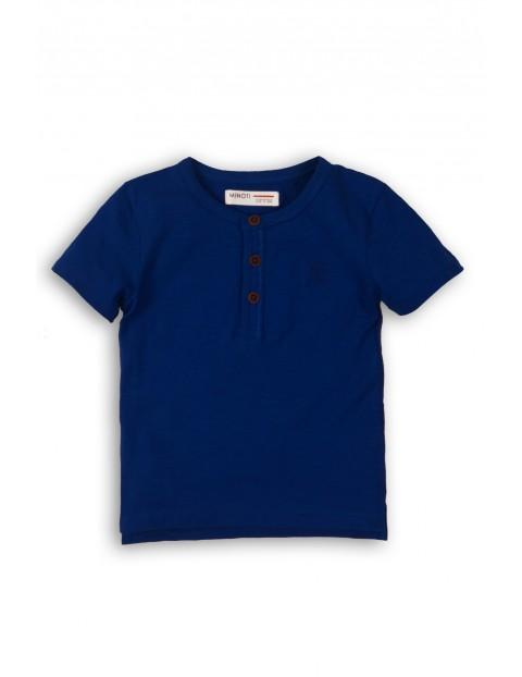 T-Shirt niemowlęcy granatowy z ozdobnymi guzikami