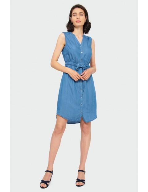 Niebieska sukienka z lyocellu typu szmizjerka