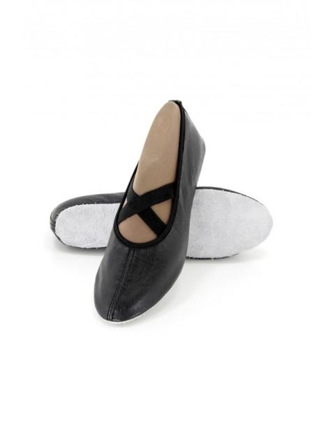 Skórzane baletki dziewczęce - czarne