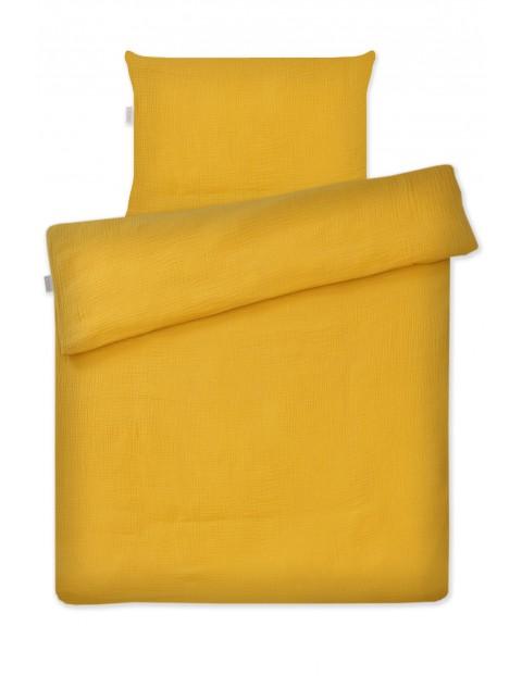 Musztardowa pościel 2-elementowa do łóżeczka, 135x100cm + 60x40cm