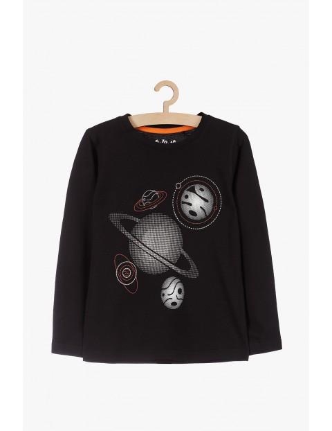 Czarna bluzka z długim rękawem- planety