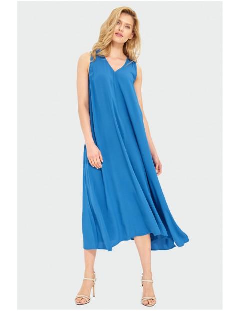 Zwiewna niebieska sukienka damska na grube ramiączka
