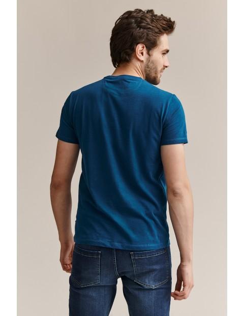 Bawełniany t-shirt męski z nadrukiem - niebieski