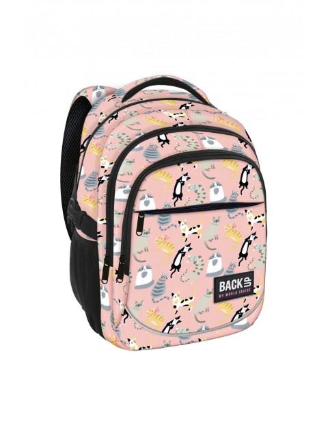 Plecak szkolny dla dziewczynki różowy w koty