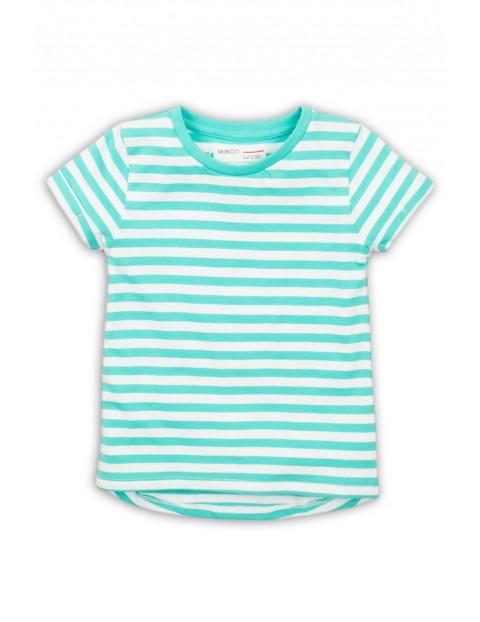 T-Shirt dziewczęcy w biało-niebieskie paski