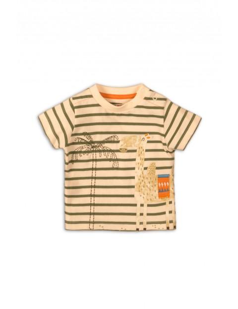 Bawełniany t-shirt chłopięcy z żyrafą
