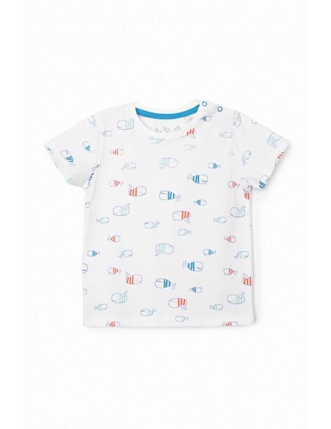 T-shirt niemowlęcy w kolorze białym z wielorybami