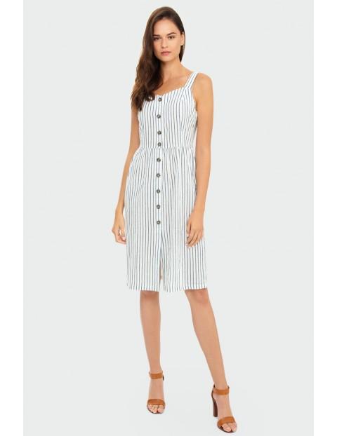 Bawełniana biała sukienka w paski na lato