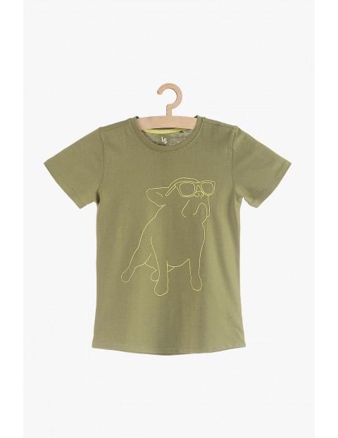 T-shirt chłopięcy zielony z nadrukiem