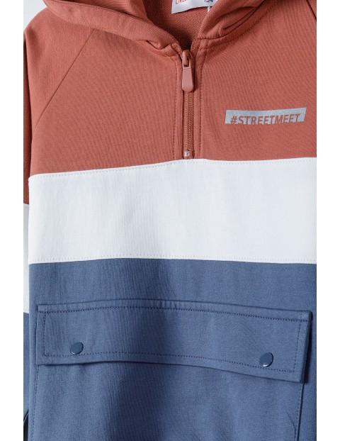 Bluza dresowa chłopięca z kapturem i kieszenią