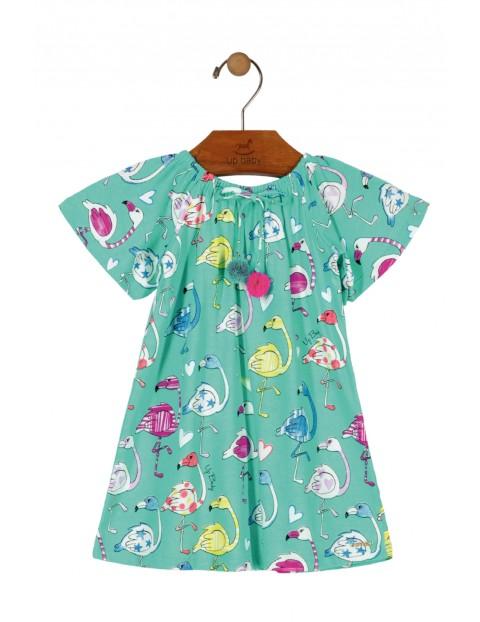 Sukienka dziewczęca niebieska z flamingami