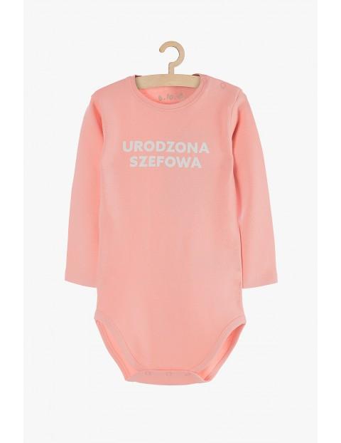 """Body niemowlęce różowe z napisem """"Urodzona szefowa"""""""