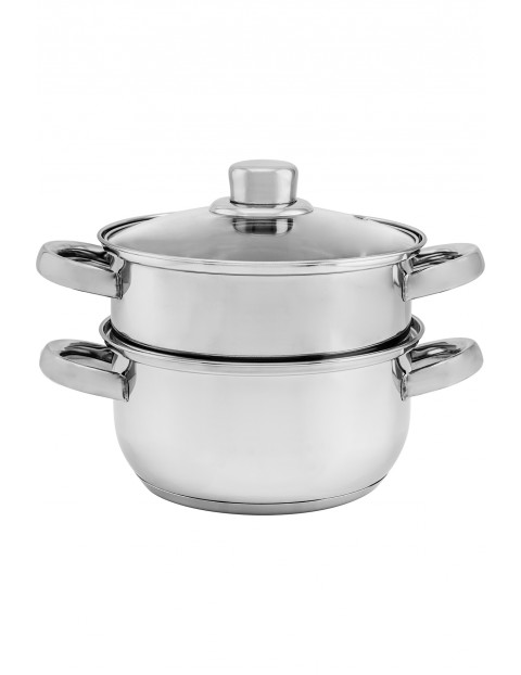 Parowar garnek do gotowania na parze 3 elementy 18cm - srebrny