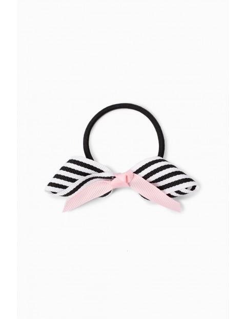 Gumka do włosów dla dziewczynki w czarno - białe paseczki