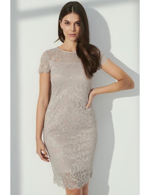 Szara sukienka damska z koronkowym wykończeniem